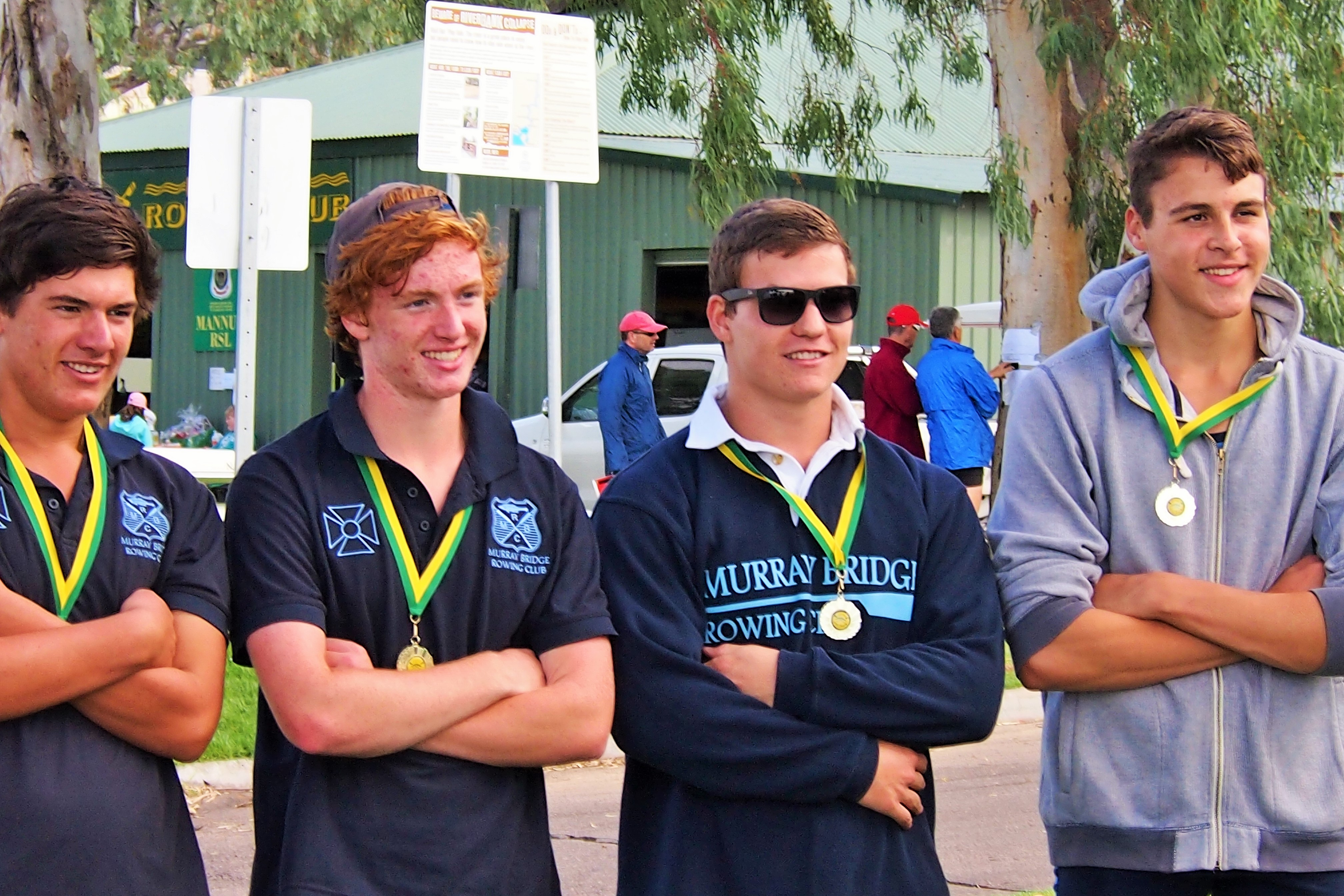 (left to right) Jayden Thomson, Hayden Teunissen, Gareth McFadzean & Liam Altschwager after their wonderful win in the 3rd grade mens quad. This was also Liam's first race and win.